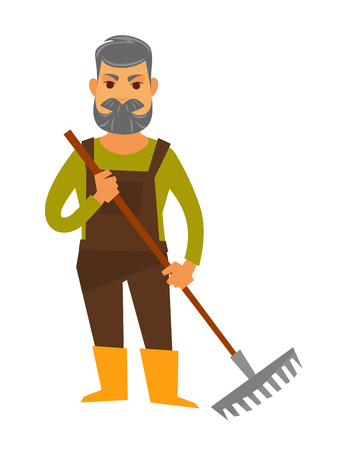 Senior man gardener isolated in brown overall, sweater and yellow boots holds rake equipment for working in garden. Vector colorful illustration of male person with grey hair and beard with rake. Illustration
