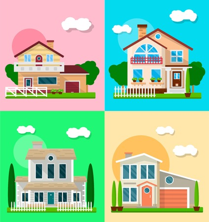 suburban neighborhood: Set of vector illustration of different cute residential suburban modern houses. Illustration