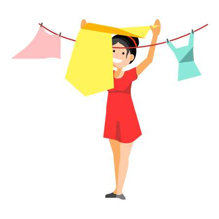 A Smiling woman putting clothes for washing on rope isolated on white.