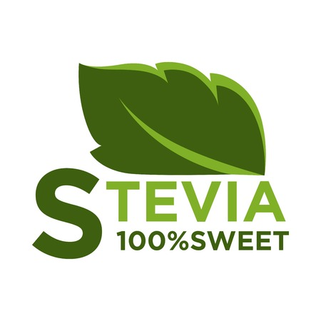 Stevia rebaudiana 100% sweet plant leaf isolated on white. Vector colorful illustration in flat design of green label with part of herb and inscription below. Sugar substitute ingredient badge.