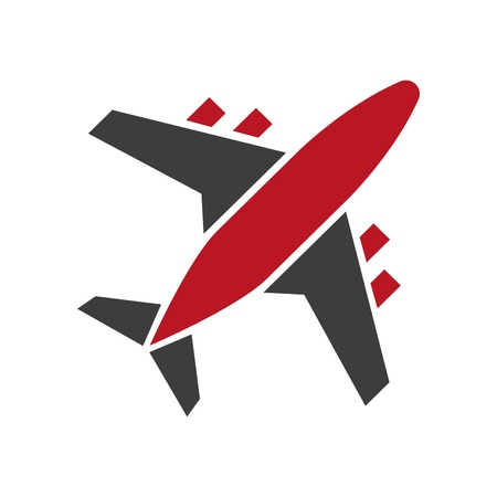 Plane icon in red and black colors isolated on white. Passenger aircraft symbol with wings and tail presenting fast mean of transportation by air. Vector illustration in flat design of airplane.