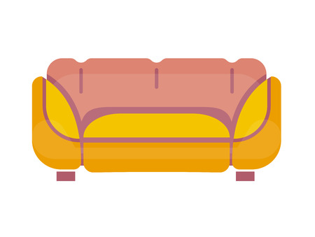 Sofa in yellow and pink colors stands on small legs isolated on white. Comfortable and soft place for sitting in living room or bedroom with convenient back and armrests close up vector illustration.