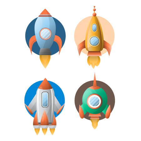 Four rockets colorful vector poster in flat design isolated on white. Illustration