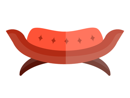 Red contemporary sofa in circular shape with soft back and on legs isolated on white. Vector colorful illustration in flat design of futuristic piece of furniture for living room or bedroom.