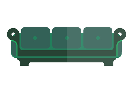 green isolated sofa with bright and dim parts on white. Soft emerald couch with back and armrests vector colorful illustration in flat design. Modern piece of furniture for living room or bedroom. Illustration