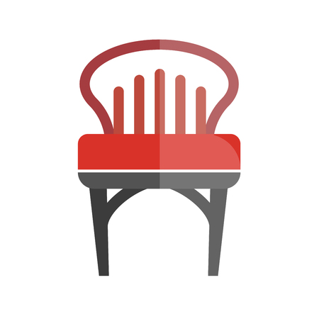 decoration: Red chair with lined back isolated on white. Vector colorful graphic illustration in flat design of comfortable place for sitting with one bright part and another dim. Illustration