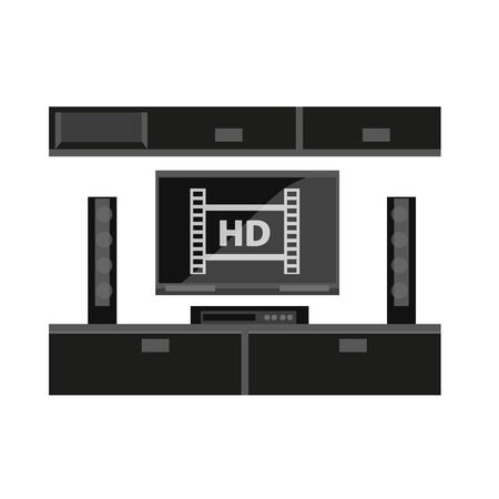 piece of furniture: Black furniture for TV set isolated on white