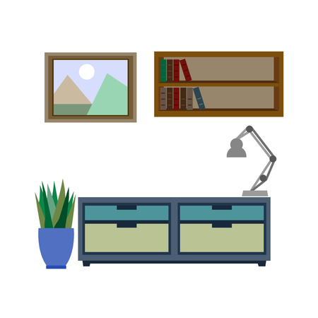 furniture: Stylish furniture for living room colorful vector poster