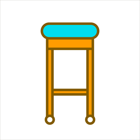 interior decoration: Bar chair with blue seat and wooden legs