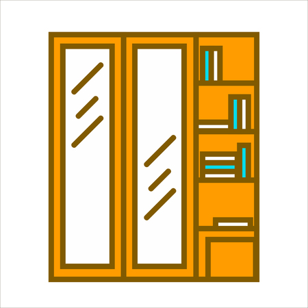 closet door: Wooden closet wardrobe with two glass vertical doors and shelves with books and other things.