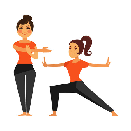 Two female people warming up before karate class Illustration