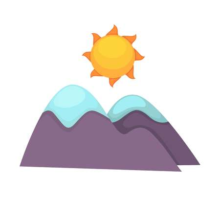 Cartoon mountains with snowy top and big sun above