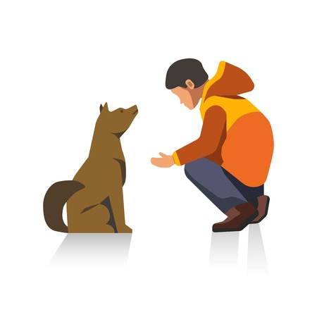 Man in jacket and dog cartoon characters isolated illustration Illustration