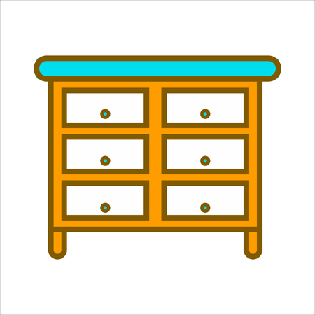 furniture design: Cartoon commode with lot of drawers isolated illustration
