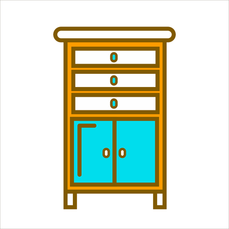 empty: Tall commode with chest of drawers and small cabinets