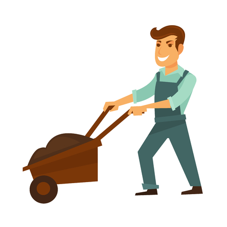Cartoon male character in dark blue overalls and light green shirt pushing wooden garden wheelbarrow.