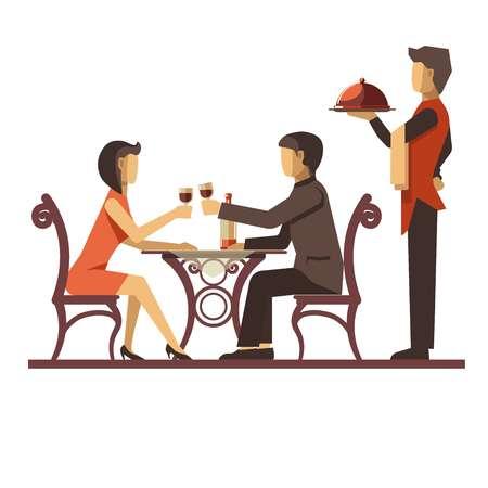 Joven pareja que data en el restaurante y camarero cerca