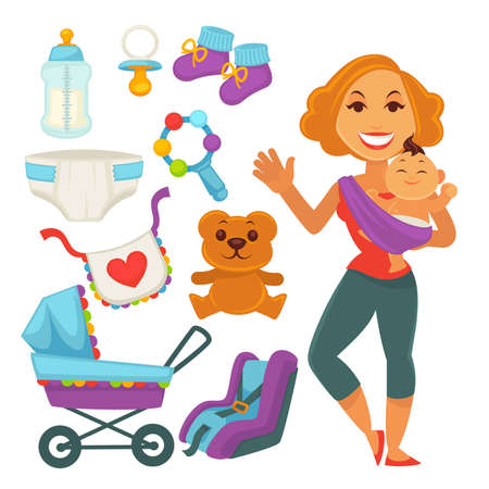 Mother holding newborn child and baby accessories vector illustration.