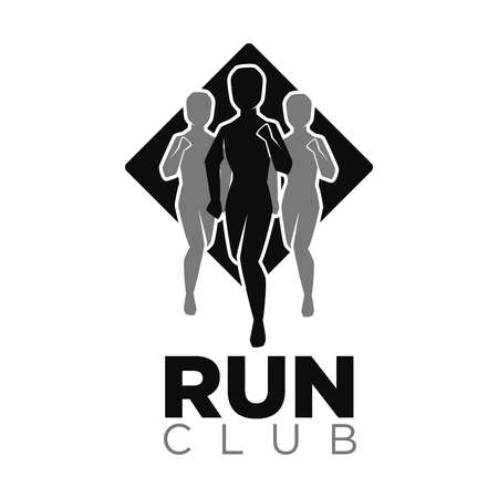 Run club vector icon of jogging people silhouettes.