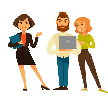 woman laptop: Business people or office managers and workers vector flat icons set.