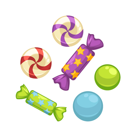 Candy comfits and caramel bonbons confectionery vector isolated flat icons. Иллюстрация