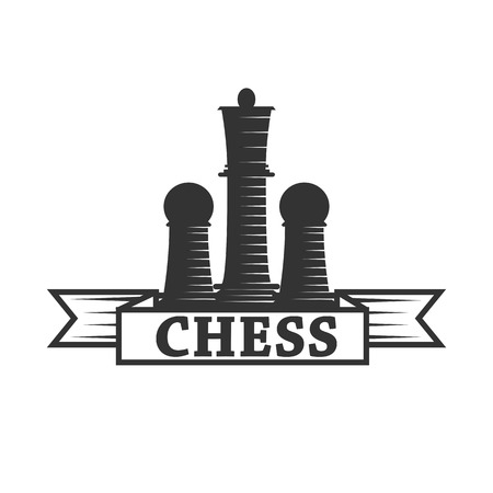 Chess club vector icon template of chessman king and rook or pawn. Illustration