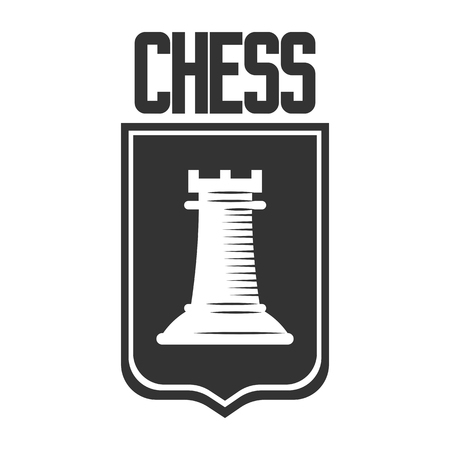 piece: Chess club vector icon template of rook castle chessman on heraldic shield.