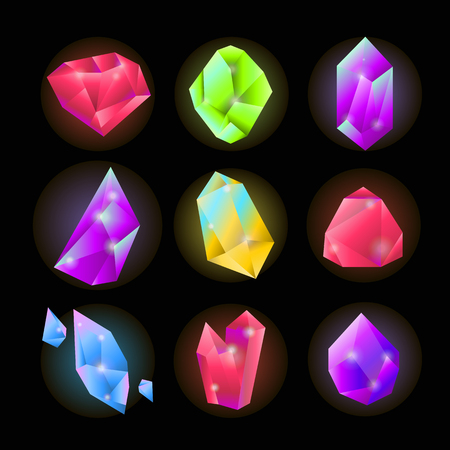 Crystals or gemstones and precious gem stones vector icons set