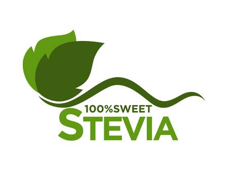 Vector illustration of one hundred percent sweet stevia logo with leaves isolated on white.