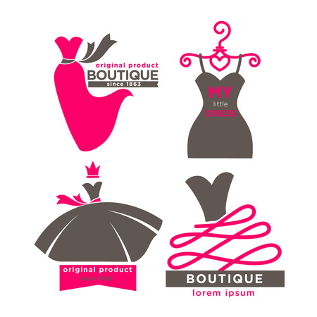 Modern fashion boutiques logotypes illustrations set Illustration