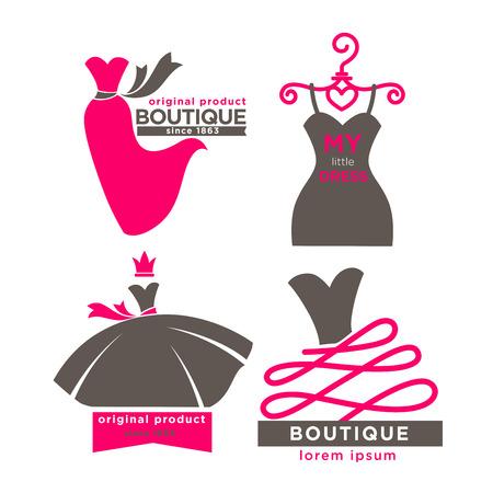 Modern fashion boutiques logotypes illustrations set Illustration
