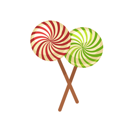 flavor: Sweet crossed lollypops on wooden sticks isolated illustration