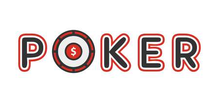 Poker logotype with gambling table instead of letter o vector