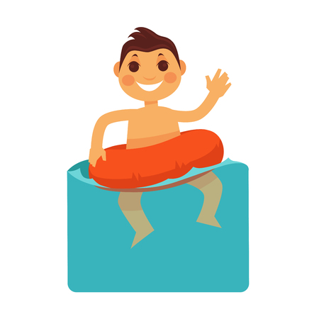 Cheerful boy in blue water with life buoy. Illustration