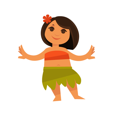 female girl: Small girl in hawaiian traditional clothes isolated on white. Vector colorful illustration in flat design of beautiful Hula female dancer wearing flower in black hair and orange top, green skirt. Illustration