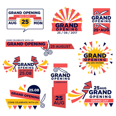 Grand opening event vector icons set for shop or festival