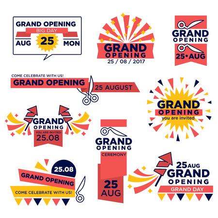 Les icônes vectorielles d'événements de grande ouverture sont organisées pour une boutique ou un festival Banque d'images - 79644281