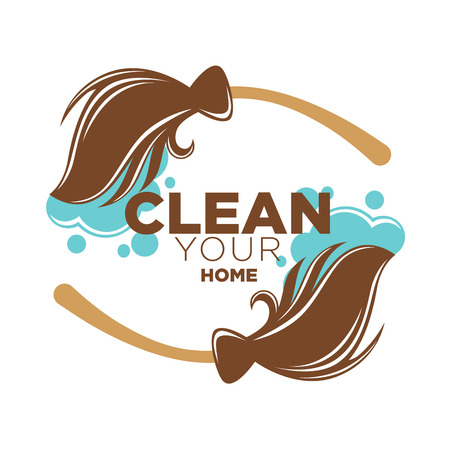 domestic: Clean your home logotype with two rotating long brown brooms around inside text with blue soap foam bubbles. Vector poster in flat design of cleaning service colorful label isolated on white