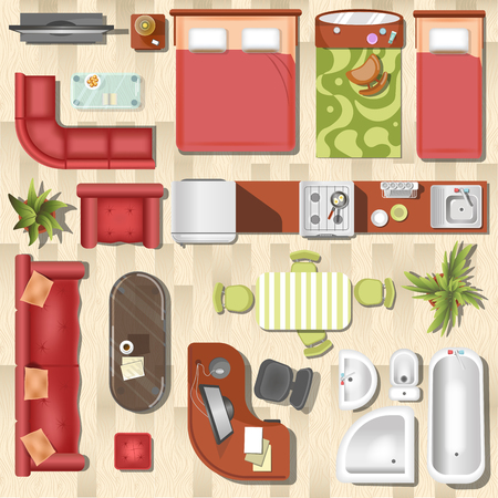 bedroom design: Apartment flat furniture layout top view vector interior