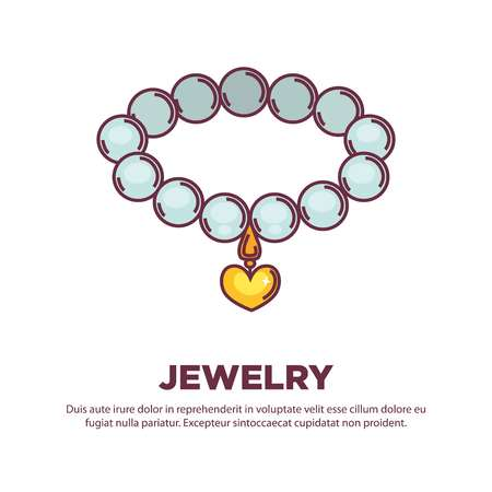 bijouterie: Jewelry pearl beads necklace or bracelet with golden heart pendant. Vector flat isolated icon of handmade bijouterie decoration collar for jeweler shop. Illustration