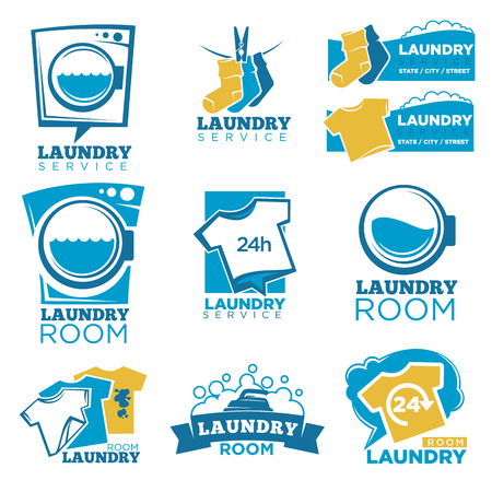 Laundry service room logo templates set. Vector isolated symbols of washing machine, detergent or soap bubbles and water splash, fresh t-shirts and dirt stains on socks