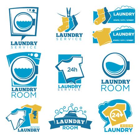 Zestaw szablonów logo usług pralni. Vector pojedyncze symbole pralki, detergentu lub bąbelki mydlane i splash wody, świeże koszulki i plamy brud na skarpetkach