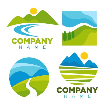 Nature landscape logo templates for green ecology environment or travel company. Vector isolated labels of forest trees, river in valley and sun over alpine mountains Illustration