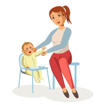 swaddle: Mother feeding newborn baby child nursing vector flat design.