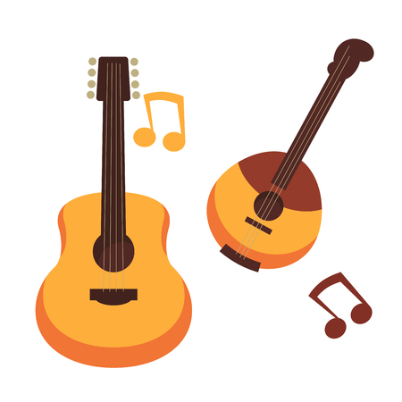 Musical instruments guitars or banjo and music notes vector isolated flat icons