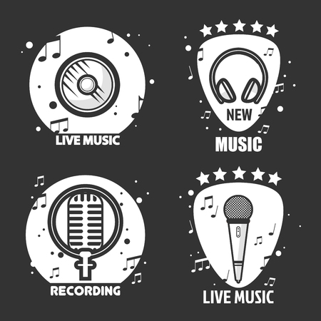 music: Music vector labels headphone, microphone and loudspeaker for recording company