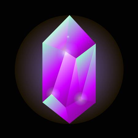 opal: Crystal gemstone or precious gem stone vector icon.