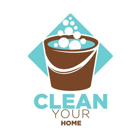 cleanly: Clean your home logo label with brown bucket full of soap bubbles against blue rhombus isolated on white. Company for cleaning buildings and things colorful closeup badge vector flat poster Illustration