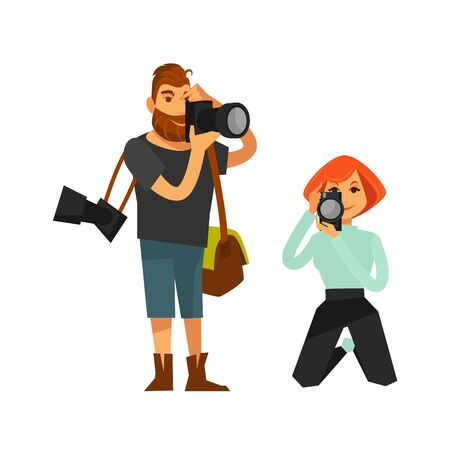 guy standing: Photographers shooting with photo cameras. Man journalist reporter or woman paparazzi taking picture shots standing and on knees. Vector flat isolated icons