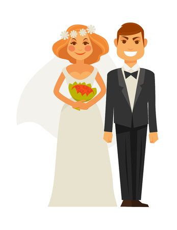Wedding photography of bride and groom. Picture shot by photographer camera. Vector flat icons of man and woman photo shoot